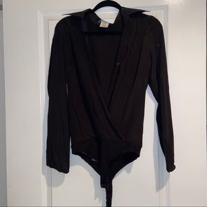 Guess by Marciano black silk onesie blouse size M